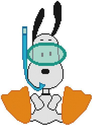 Cross Stitch Knit Crochet Plastic Canvas Waste Canvas Rug Hooking and Bead Work Pattern Peanuts Snoopy loves to Snorkel! So cute!. https://www.pinterest.com/resparkled/