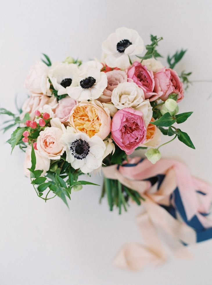 Anemone And Garden Rose Wedding Bouquet