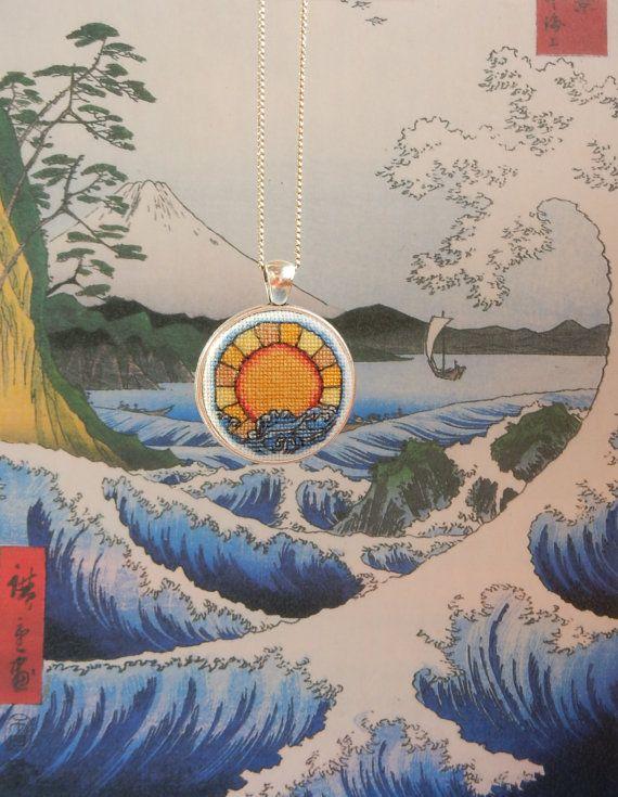 Pendant Oriental with miniature crossstitch от Microstitch на Etsy