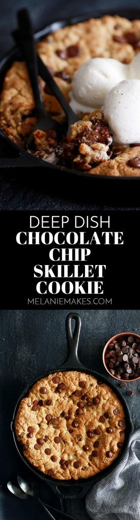 This Deep Dish Chocolate Chip Skillet Cookie is the epitome of chocolatey goodness and is mixed in the same skillet it's cooked in! Pour yourself a tall glass of milk and cozy up to the most amazing chocolate chip cookie you've ever enjoyed.