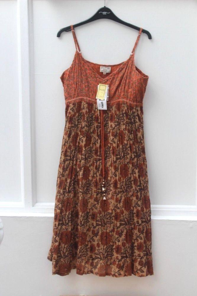 92d5c0b8fd7 NEW KUSHI Non-Iron Sundress Brown and Orange Adjustable Straps Size 10 NWT  (87)  Kushi  EmpireLine  Casual