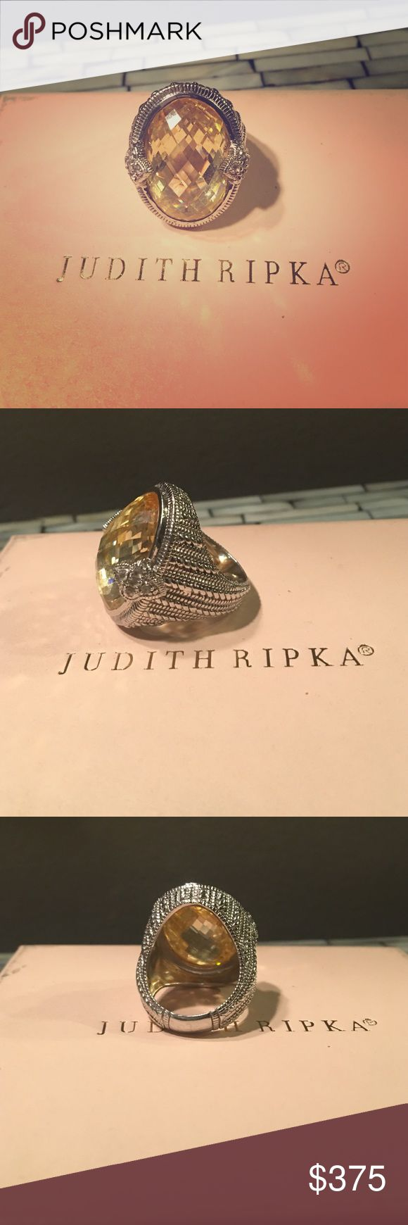 Authentic Judith Ripka Canary yellow ring Sterling Silver with canary crystal and diamond fleur-de-lis oval ring . Size 7 .Excellent condition! Jewelry Rings