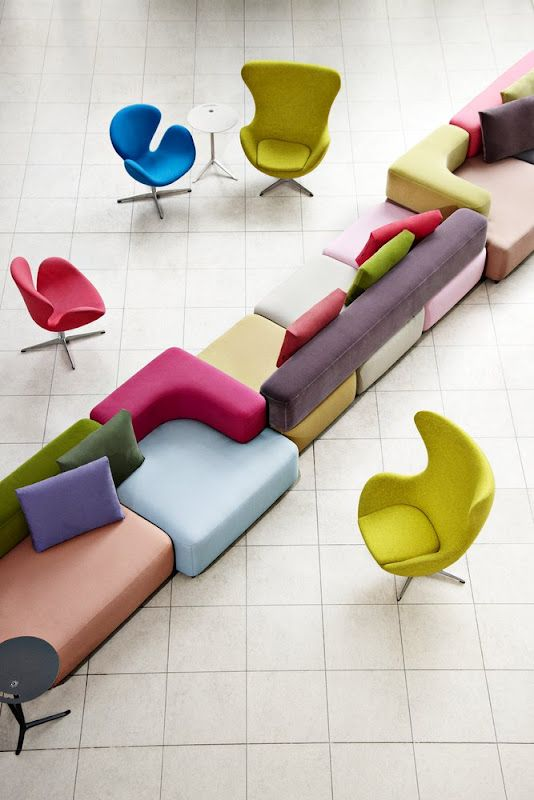 Another awesome couch and sectional design, this time with a pop of #color. Add these to any apartment for a unique touch and one-of-a-kind twist! Designs by Fritz Hansen