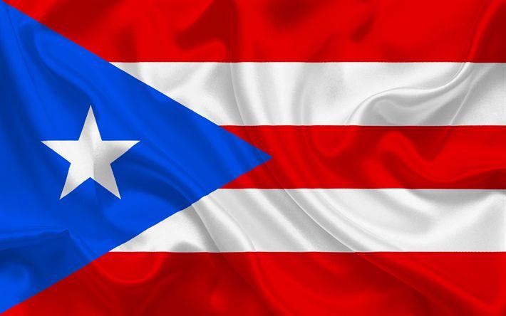 Download wallpapers Puerto Rican flag, Puerto Rico, South America, Caribbean Sea