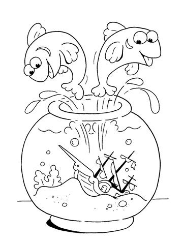 colouring pages jumping fish