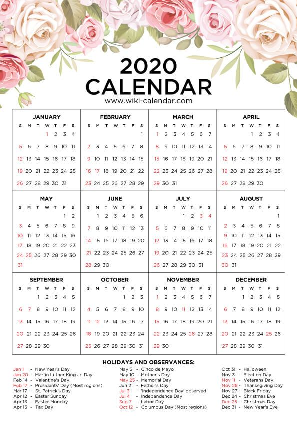 FREE 2020 Floral Calendar | Printable yearly calendar ...