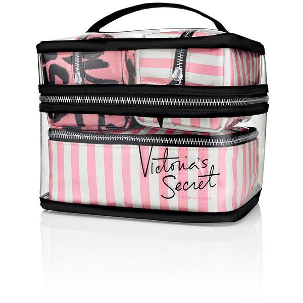 Victoria's Secret Four-piece Travel Case (235 ILS) ❤ liked on Polyvore featuring bags, luggage, makeup, accessories and makeup bag