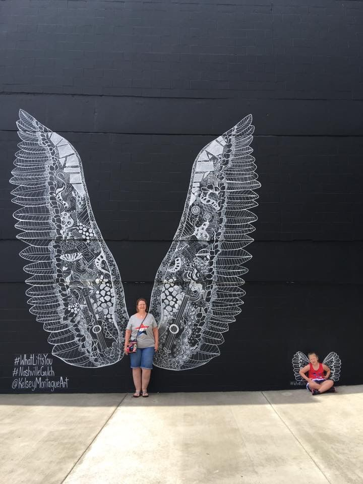 Visit the gulch and get your pic with these lovely wings. They've painted them in special places all over the world and we have our very own set here in Nashville.