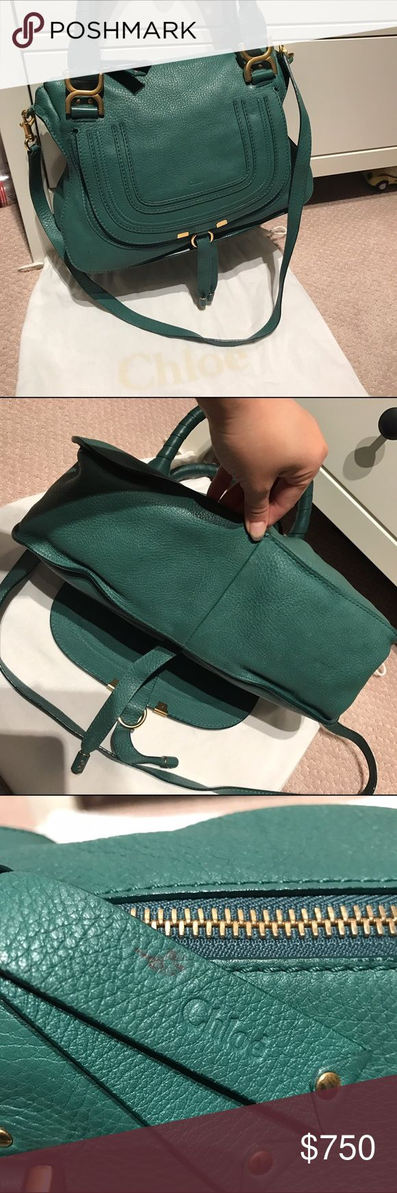 Chloe Marcie Medium Satchel Gorgeous Chloe Marcie Medium Satchel.  In great condition!  Leather has softened but still has shape. No visible scratches or tears.  The handles are in good shape, hardware has hairline scratches from use.  In the Emerald Coast color.  Inside is very clean.  The zipper pull has a black pen mark.  Will come with cross body strap, authenticity card and dustbag.  From a smoke free home. Chloe Bags Satchels