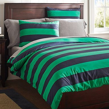 Rugby Stripe Duvet Cover Sham Navy Bright Green