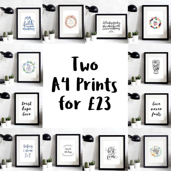 Two A4 Prints Offer - Over 20% OFF - Inspirational Prints - Gifts For Her - Gifts For Him - Christian Gifts - Offer