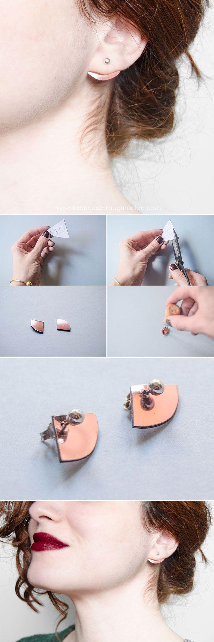 DIY Minimal copper earrings · DIY Pendientes minimalistas cobres · Fábrica de Imaginación · Tutorial with steps in Spanish