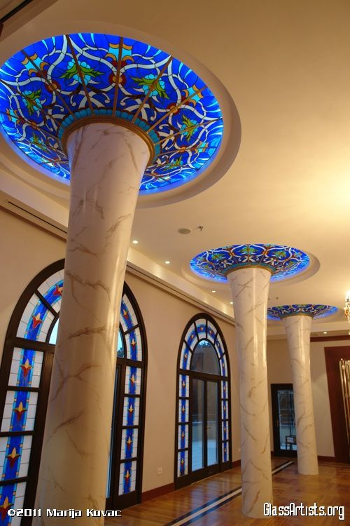 Stained Glass - Art - Architecture - Blue - Bel Art Gallery pillar ceilings windows
