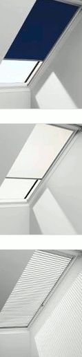 Skylight covers: blackout blind, roller blind and venetian blind; from Velux