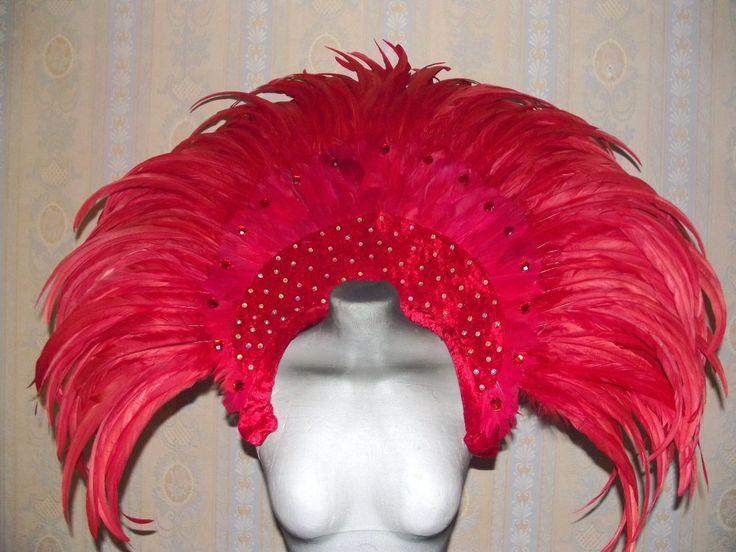 Samba Carnival dragqueen Showgirl feather collar red | eBay