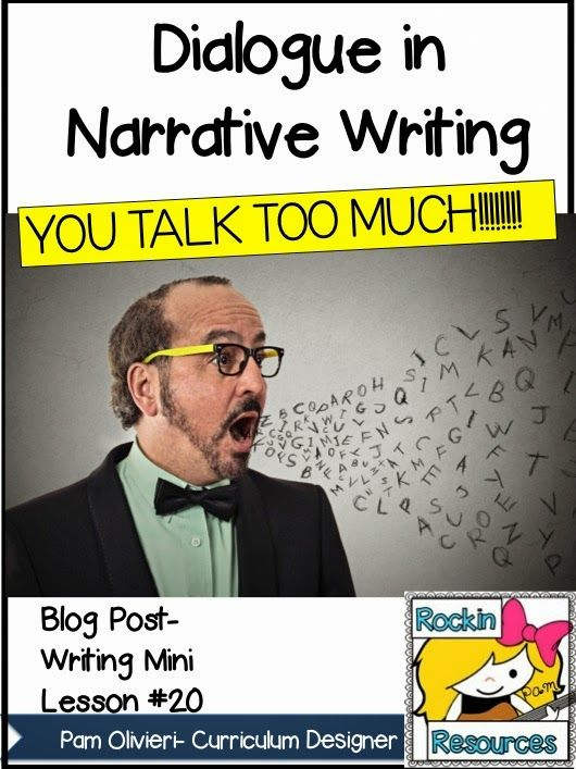 Free Writing Mini Lesson 20- Dialogue-Blog Post- Great lesson plans on how to teach dialogue! Mentor Text included along with a fun song!  Designed by Rockin Resources