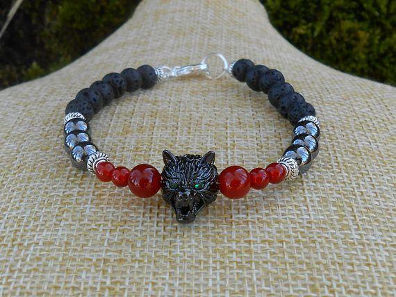 Bracelet perles cornaline hématite perles de lave perle