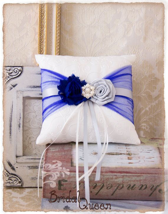 Roya Blue and Silver Ring Bearer Pillow Wedding by BridalQueen
