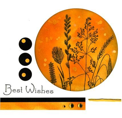 Woodware - Summer Weeds  Best Wishes, distress inks and spritz with bleach