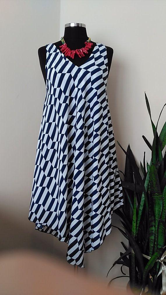 Summer Dress for Women, Nautical - Strappy Asymmetric hem Chevron Dress Handsewn HandmadebyNadya