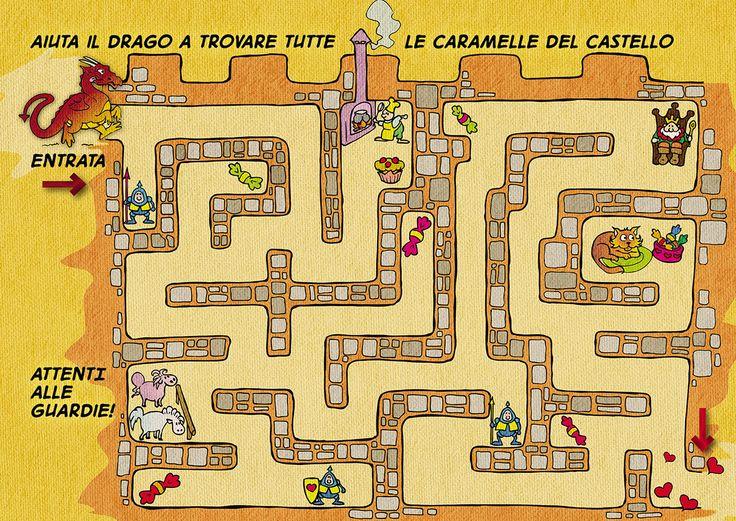 """#Labirinto #gioco dal libro """"La Principessa Azzurra e il Drago Golosone"""" in formato stampabile A4 ** #Maze #printable #game from """"Princess Azzurra and the Gluttonous Dragon"""""""