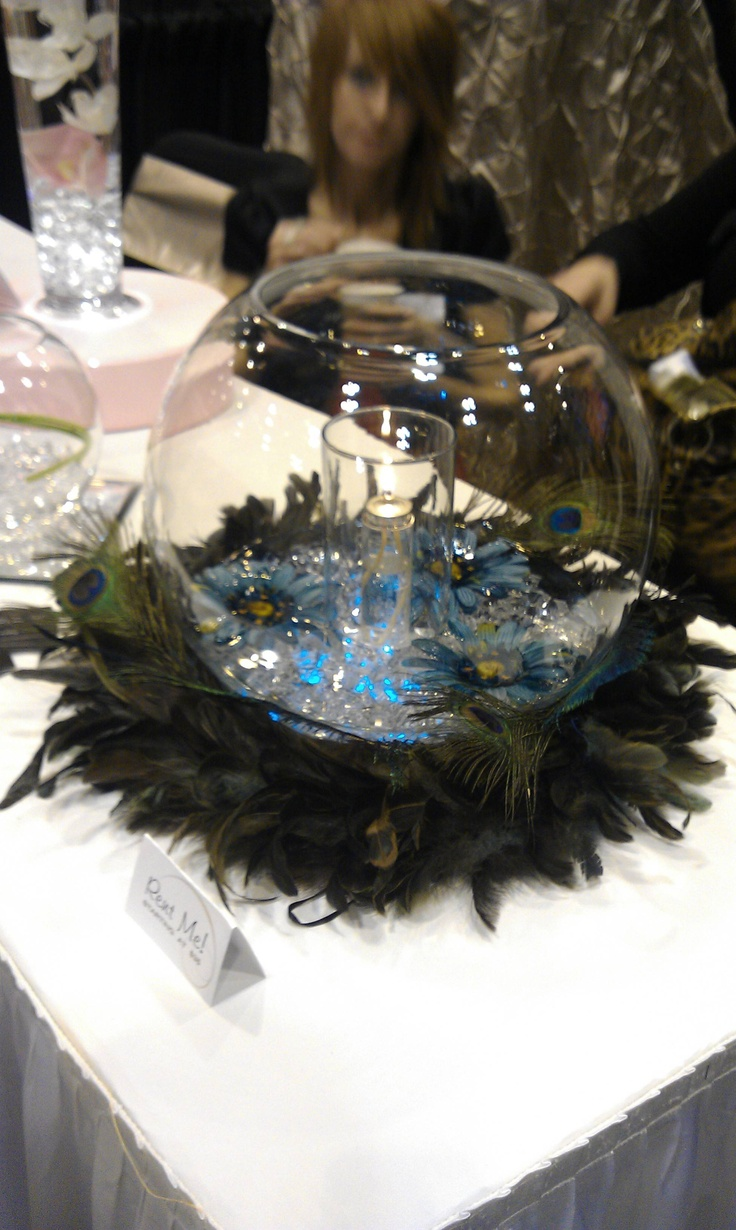 glass ball with clear gems water flowers