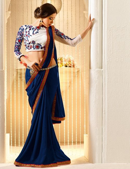 YellowFashion.in — Blue color crepe festival & function sarees : sargam collection yf-30435 | Crepe sarees for festival & function