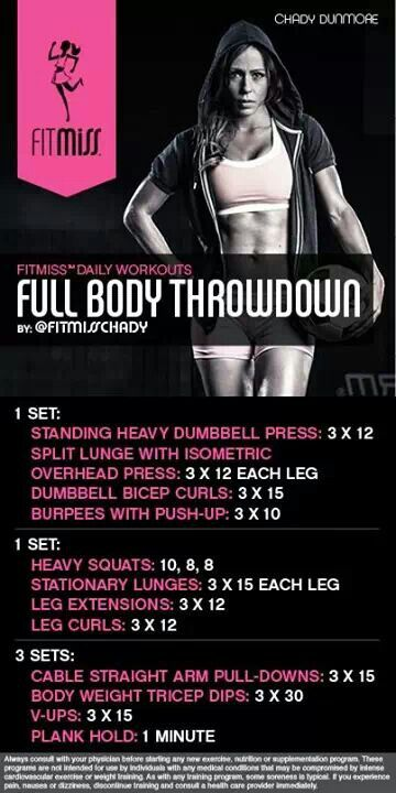 Full Body Throwdown by fitmiss | Workout, Gym workouts