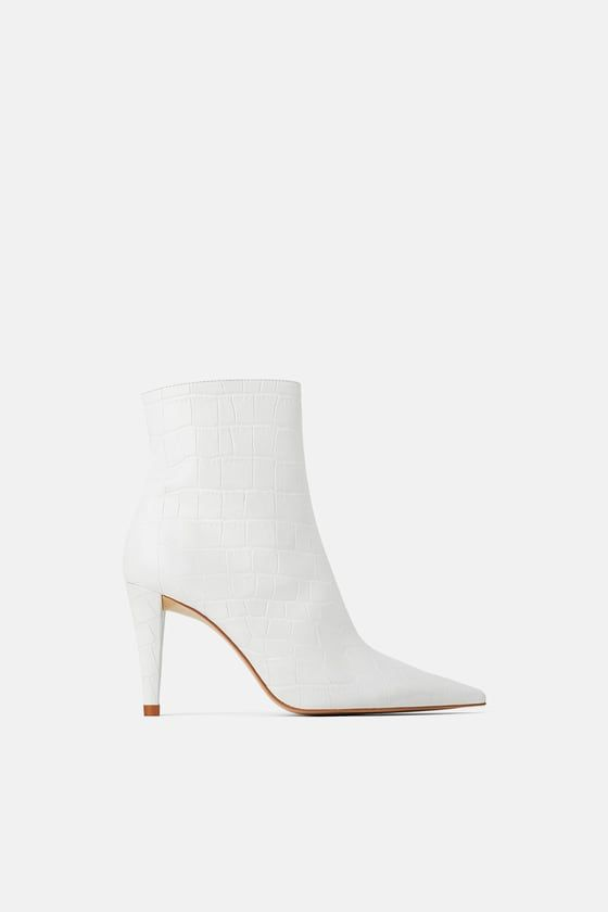 c353f7f614e5 ANIMAL PRINT HEELED LEATHER ANKLE BOOTS - WHITE COLLECTION-WOMAN | ZARA  United States