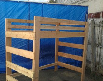 super heavy duty loft bed with stair case shelf by
