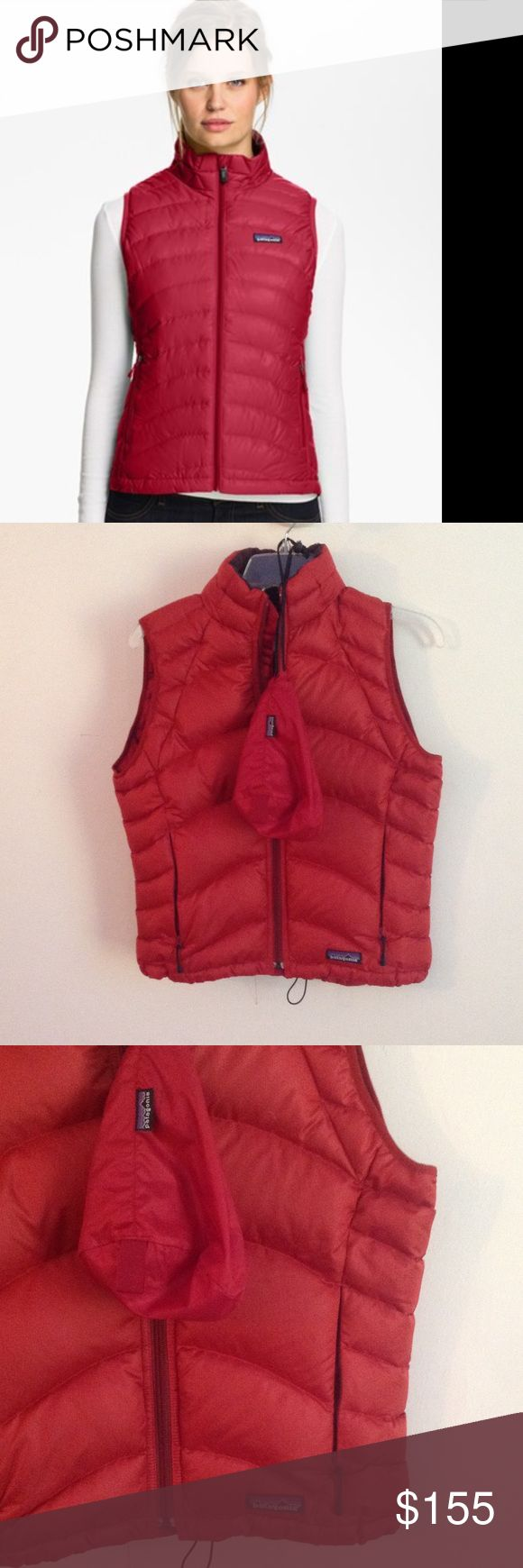 +++NWOT $220 RETAIL FOLDABLE DOWN PUFFER VEST+++ +++NWOT $220.00 PLUS TAX RETAIL RARE SOLD OUT EVERYWHERE. FOLDABLE DOWN PUFFER VEST WOMENS SIZE SMALL BUT HAS AN ADJUSTABLE BUNGIE CORD BOTTOM TO BE ABLE TO FIT A RANGE OF SIZEZ XS/S. FLAWLESS CONDITION, COMES WITH ORIGINAL BAG FOR EASY STORAGE, THIS VEST IS WATERPROOF. TRULY A MUST HAVE STAPLE FOR ALL WINTER. +++PRICED TO SELL SAME DAY, OFFERS WELCOME THROUGH THE OFFER OPTION, NO TRADES OR HOLDS+++ Patagonia Jackets & Coats Vests