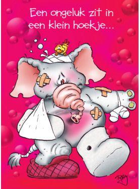 Olifant met gebroken been op roze kaart- Greetz