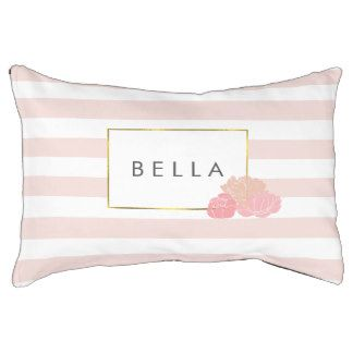 Pink Stripe & Blush Peony Personalized Dog Bed