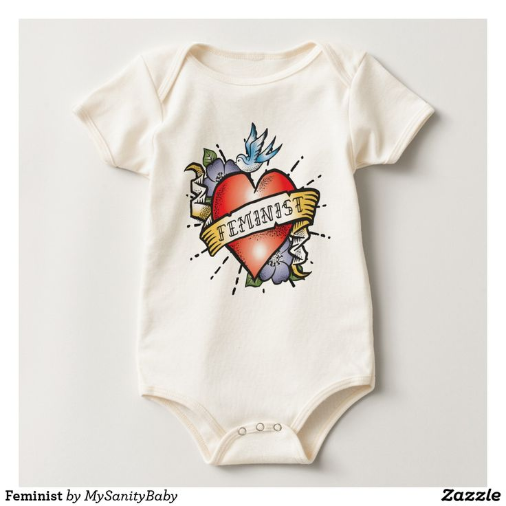 Feminist Baby bodysuit- This beautiful bodysuit features a realistic tattoo heart with a vintage style banner and the word Feminist.