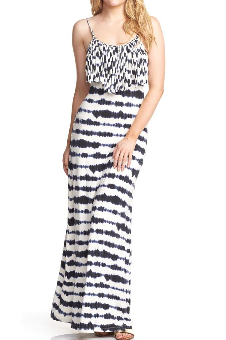 Navy wavy stripe maxi has an open back and fringe in front Great summer maxi for weddings or as a bathing suit cover up.  Navy Stripe Maxi by Tart Clothing. Clothing - Dresses - Maxi Clothing - Dresses - Printed Montana
