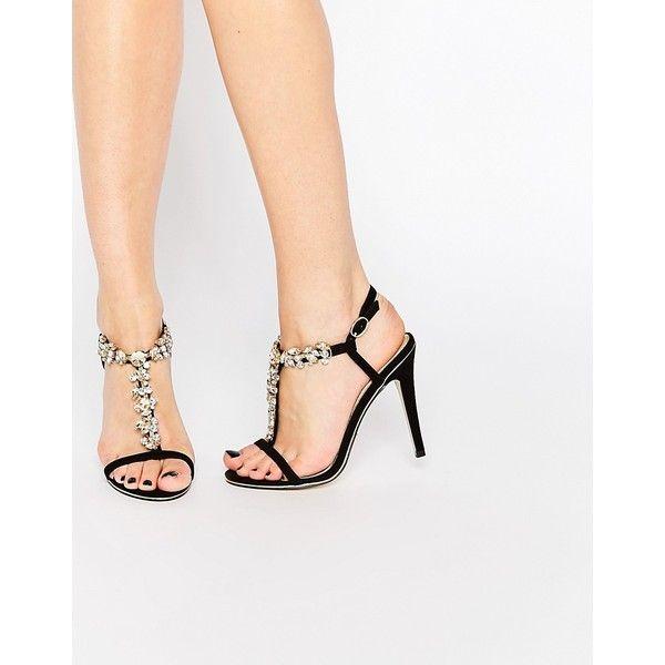 Ravel Embellished Heeled Sandals ($38) ❤ liked on Polyvore featuring shoes, sandals, black, black high heel sandals, heeled sandals, high heel sandals, black sandals and kohl shoes