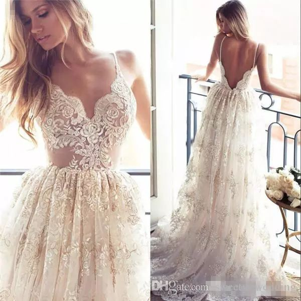 2017 Full Lace A Line Wedding Dresses Sexy Spaghetti Neck Backless Sweep  Train Spring Beach Vintage