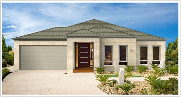 "front garage door on house | Gutters are ""Bushland"", Garage is ""Evening Haze"")"