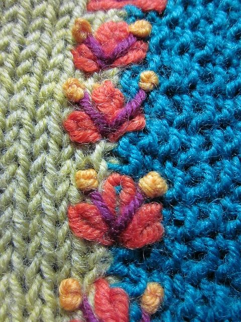 @Geneive Hoppner more wonderful for you too do! Embroidery over a seam in knit or crochet.