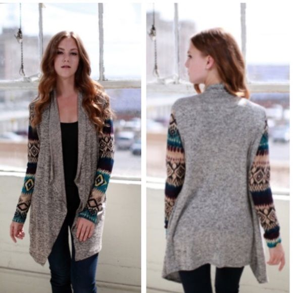 Tribal Printed Cardigan Open cardigan with trendy tribal printed sleeves. Base color is grey. 96% Polyester, 4% Spandex. Made in USA. No trades! 2/2/1 Other