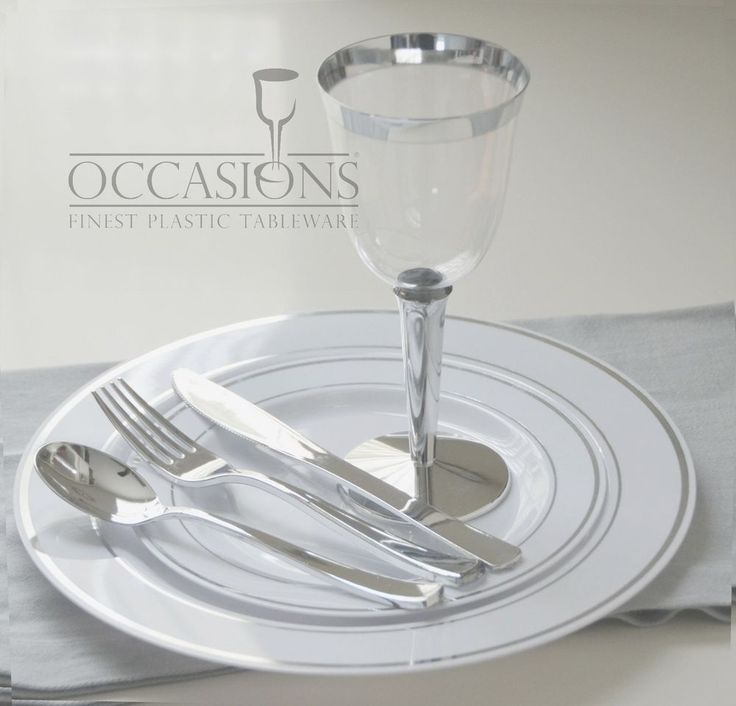 Wedding Party Disposable Plastic  Plates and cutlery & wine cups  w/ silver rim #OCCASIONS #WEDDING