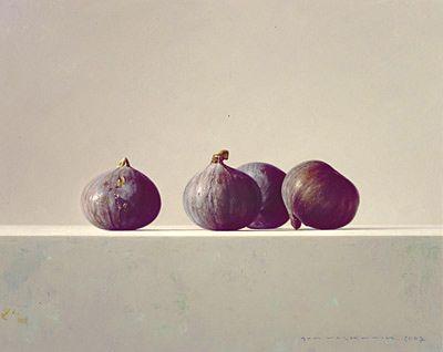 """Bernard Verkaaik """"Vier Vijgen"""" 2007. Oil paint on panel. 24x30 cm."""