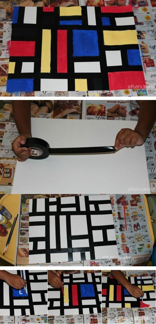 Peindre à la manière de Piet Mondrian (mais mes élèves collent des bandes de cartons noirs):
