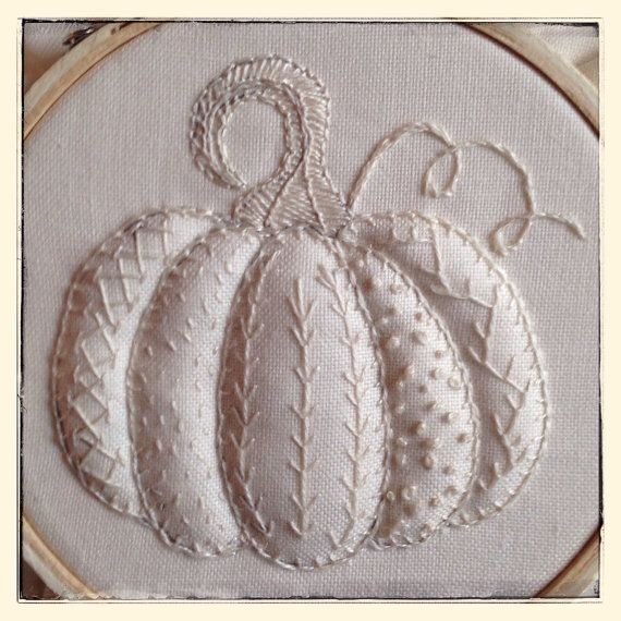 Hand Embroidery Pattern Pumpkin Sampler Autumn di MyPinkSugarLife