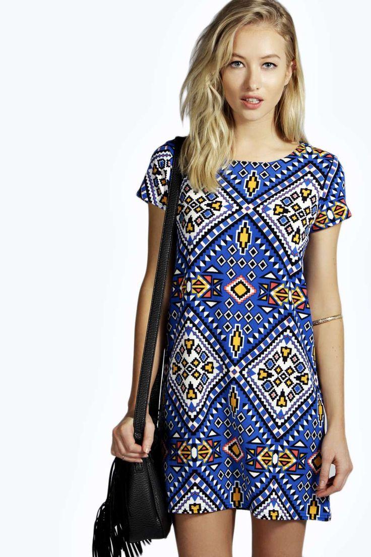 Lorraine Bold Aztec Shift Dress | BooHoo