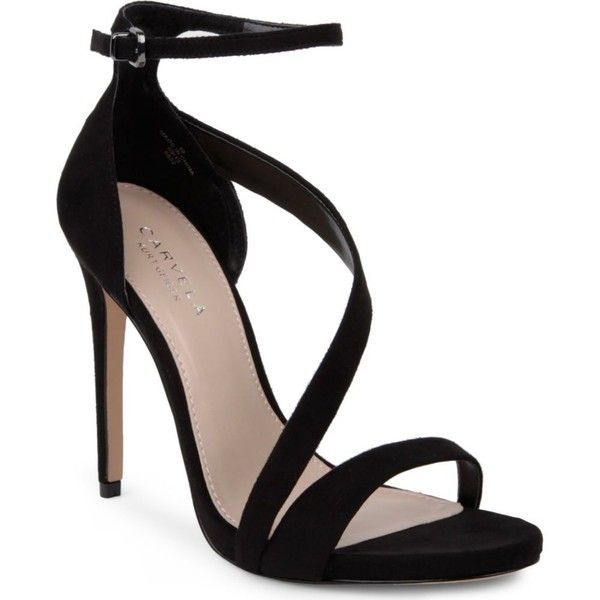 CARVELA Gosh faux-suede sandals ($180) ❤ liked on Polyvore featuring shoes, sandals, heels, sapatos, high heels, black, strappy sandals, strappy heel sandals, ankle strap sandals e black high heel sandals