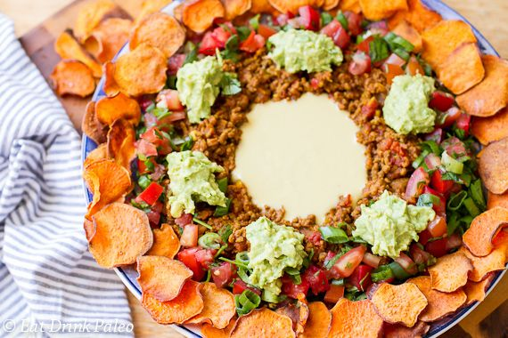 Paleo nachos with spicy beef & faux cheese sauce | Eat Drink Paleo