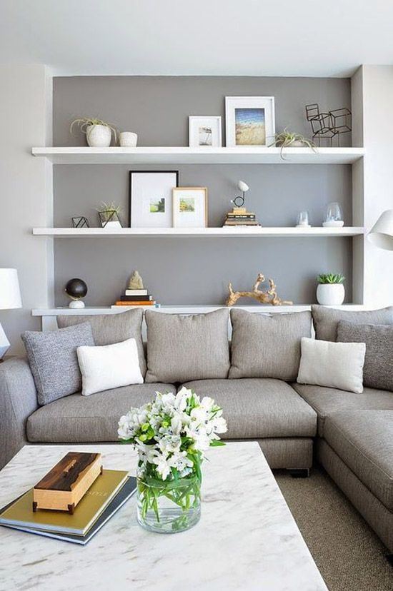 grijstinten woonkamer - sitting room, shelves, couch