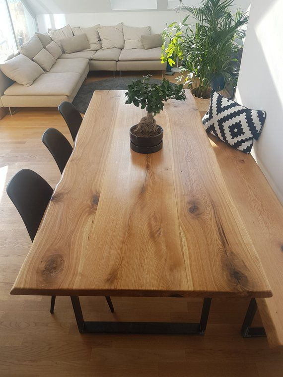 Dining Table Oak Wooden Table Solid Wood Tree Table Oiled In 2020 Oak Dining Table Dining Table Rustic Dining Room