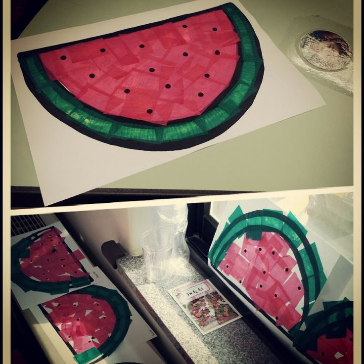 Who doesn't love melons! Simple, colourful and great as a stained glass window project. Draw out a melon slice shape (basically a semi circle!) Fill with red tissue, green for the…
